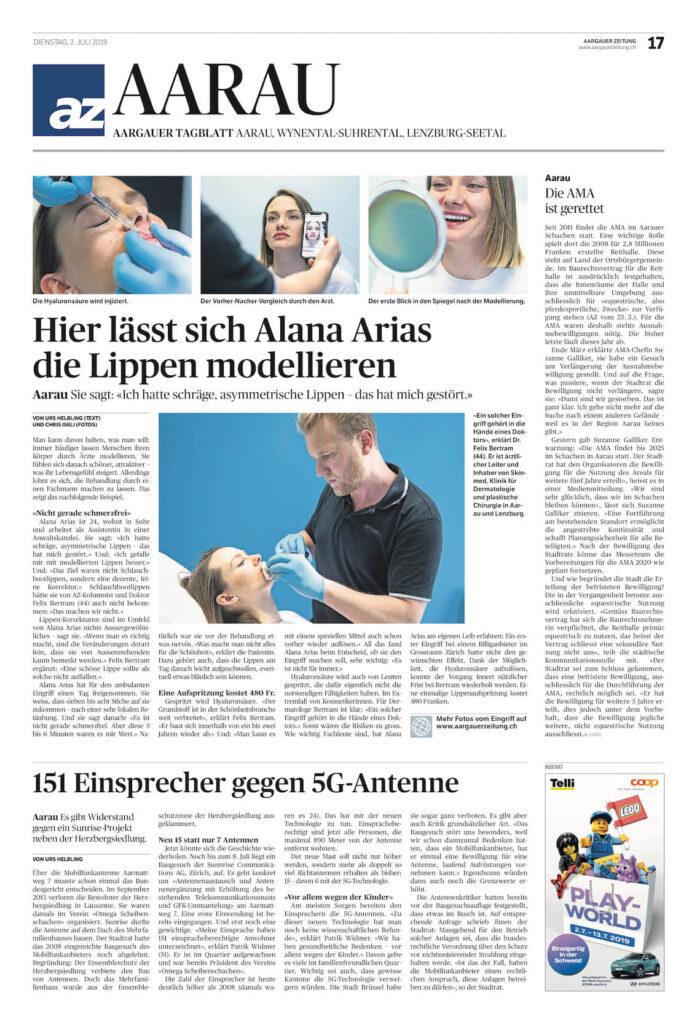 Lippenunterspritzung skinmed Aargauer Zeitung