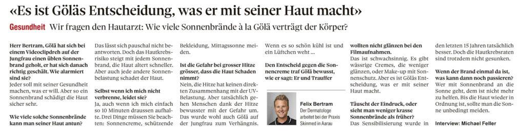 Berner Zeitung Interview skinmed Felix Bertram zu Gölä Sonnenbrand