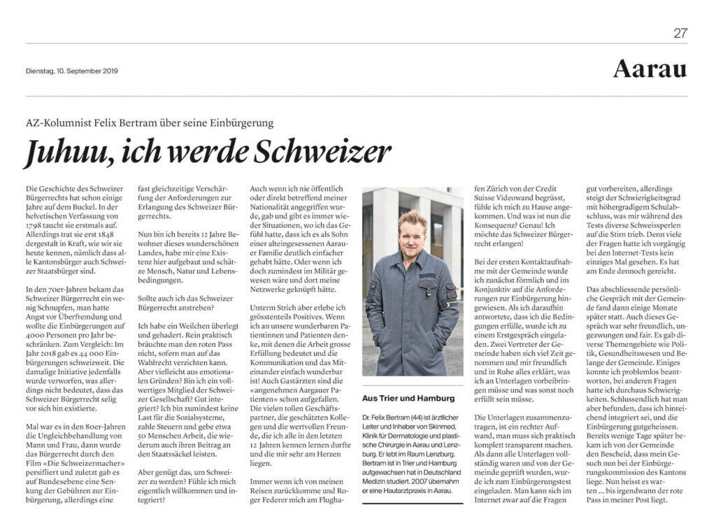 Dr. Felix Bertram wird Schweizer
